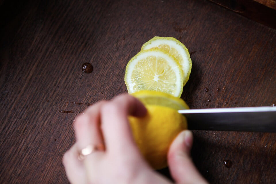 Be careful when you cut your lemons. Cutting yourself is not one of the benefits of drinking lemon water.